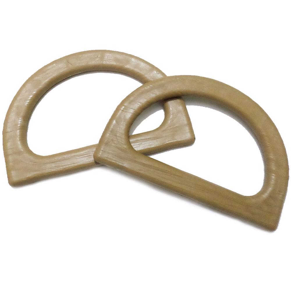 Alça de Mão Plástico Meia Argola 13,5cm Par Bege
