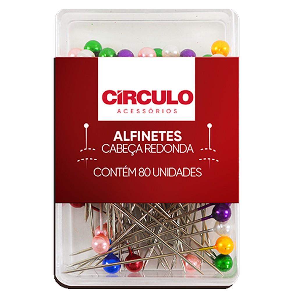 Alfinete Cabeça Redonda Círculo Colorida - 80 unidades