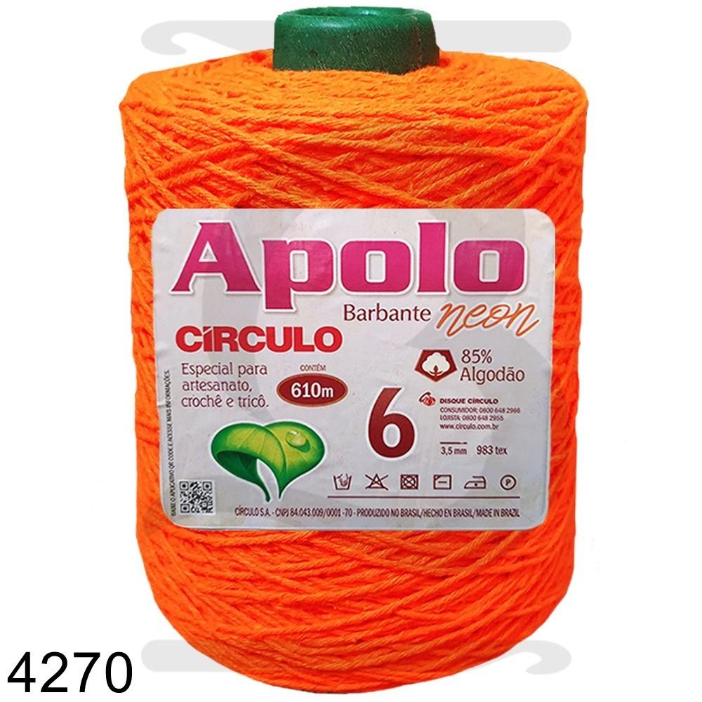 Barbante Apolo Círculo N°6 - 600g Laranja Neon Cor 4270