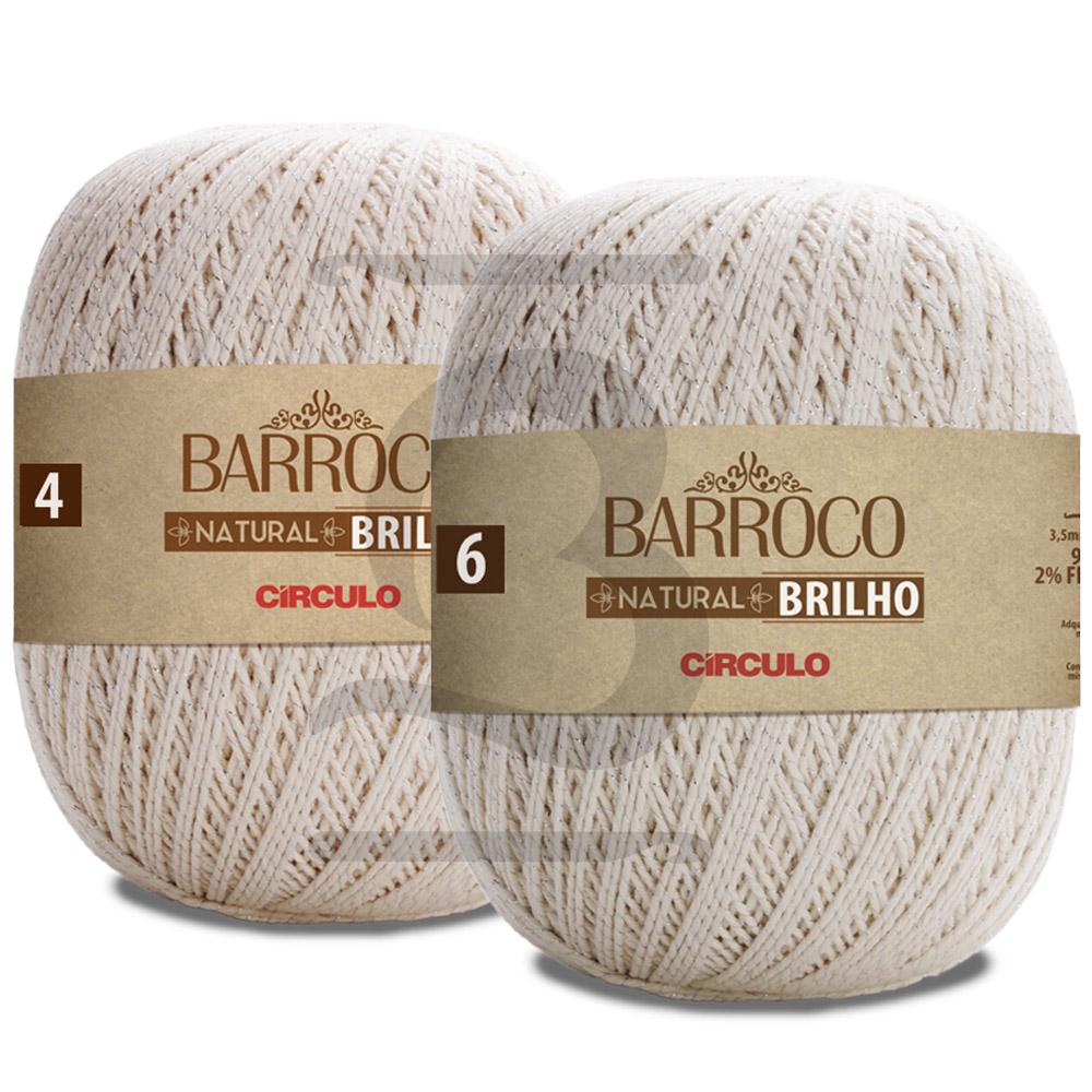 Barbante Barroco Natural Brilho Prata 700g