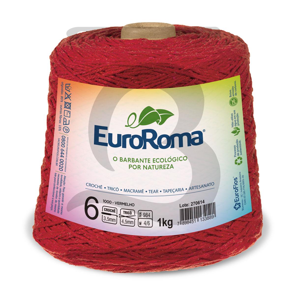 Barbante EuroRoma Colorido N°6 - 1kg Cor 1000 Vermelho