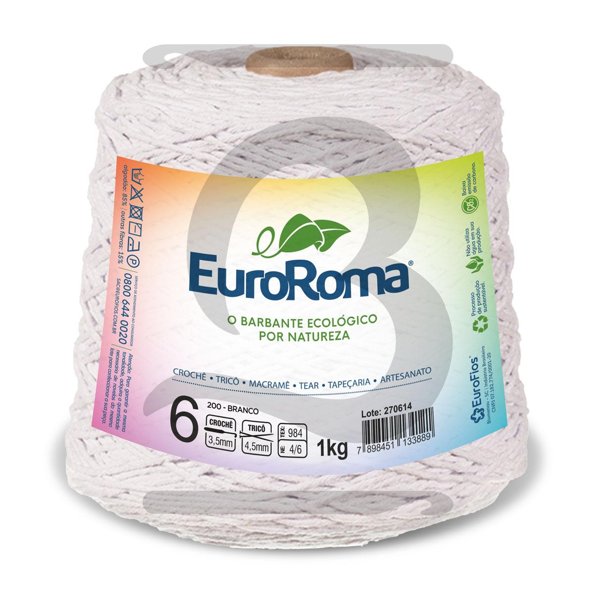Barbante EuroRoma Colorido N°6 - 1kg Cor 200 Branco