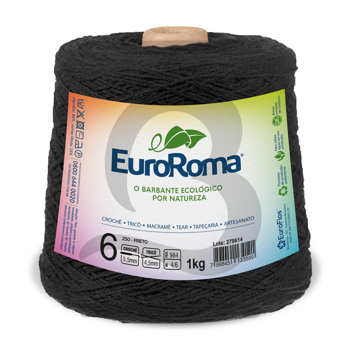 Barbante EuroRoma Colorido N°6 - 1kg Cor 250 Preto