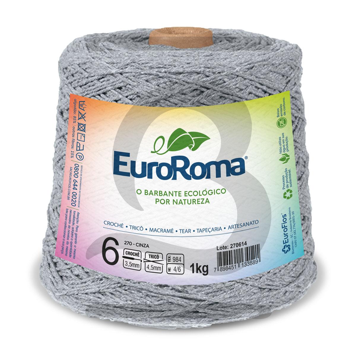 Barbante EuroRoma Colorido N°6 - 1kg Cor 270 Cinza