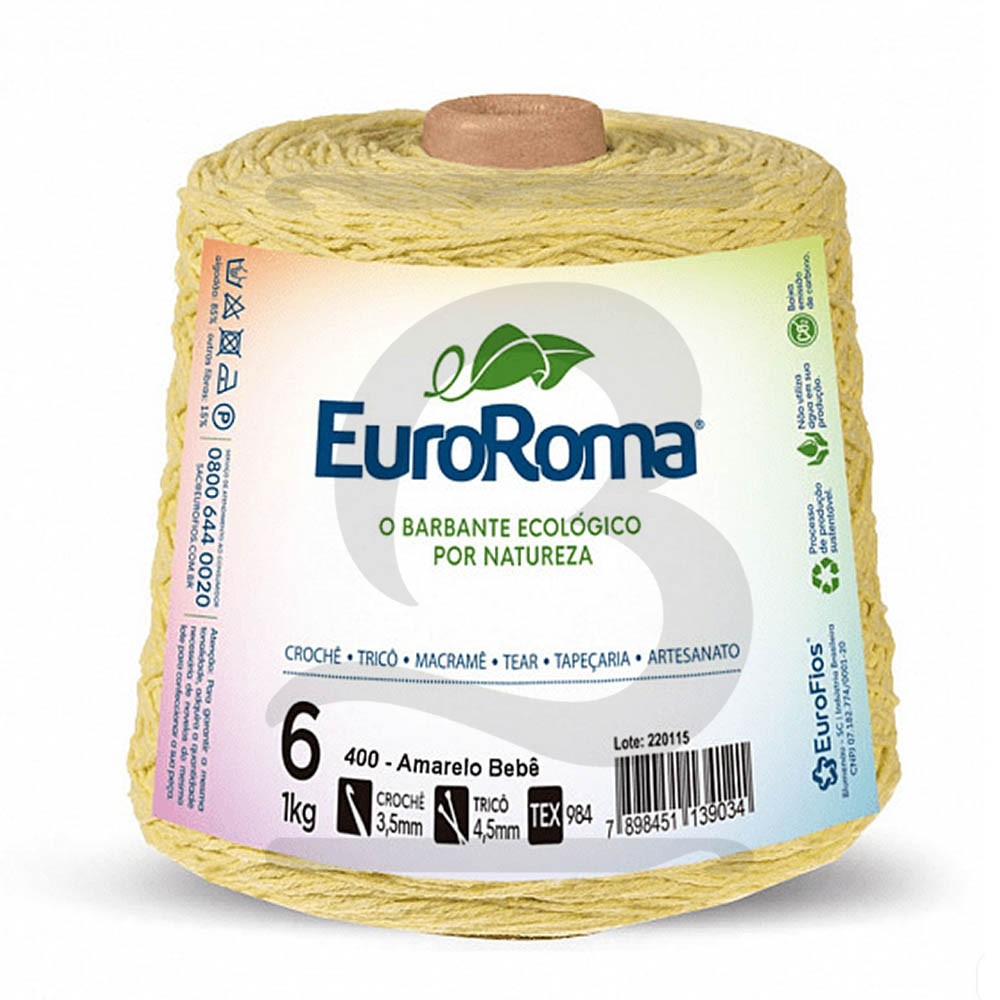 Barbante EuroRoma Colorido N°6 - 1kg Cor 400 Amarelo Bebê