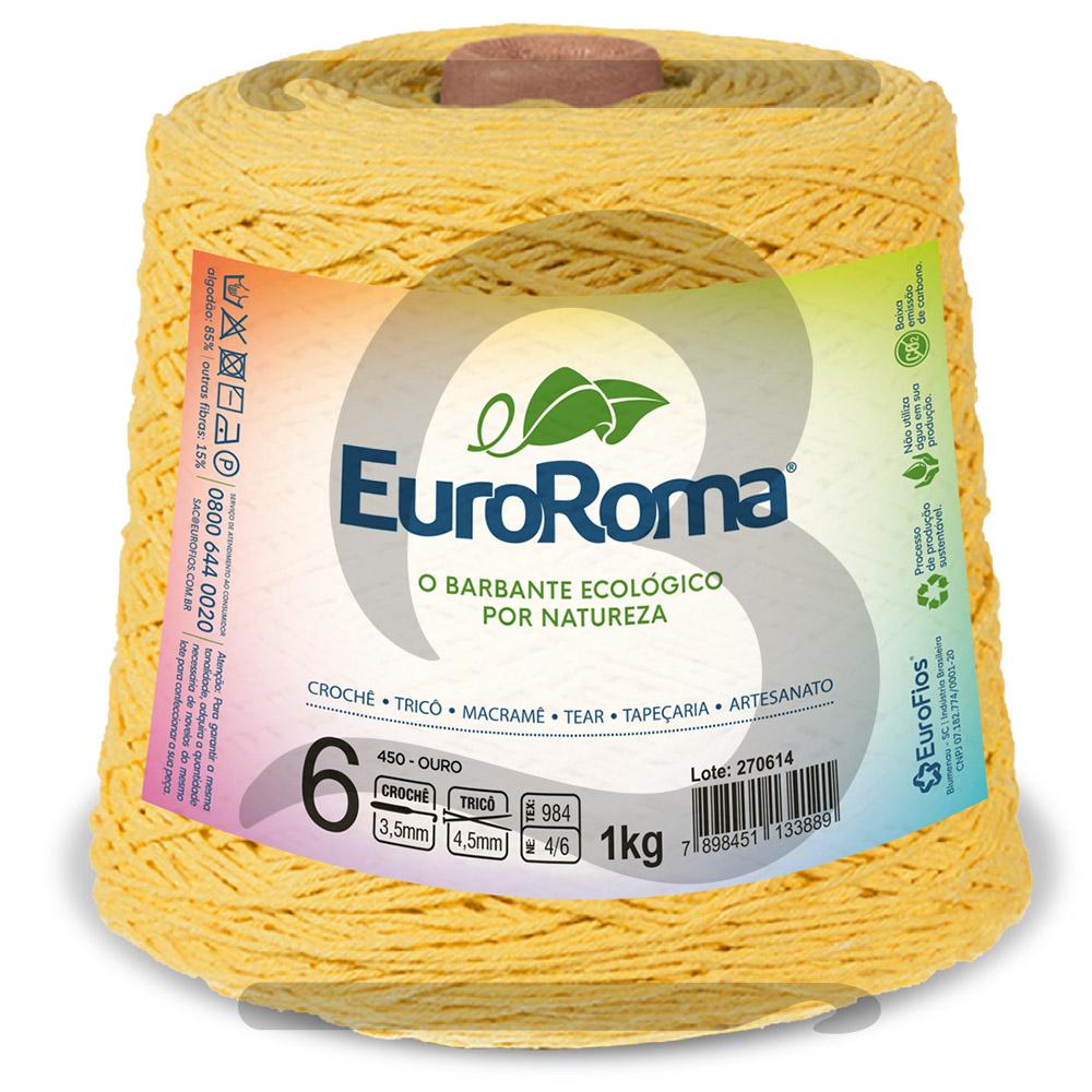 Barbante EuroRoma Colorido N°6 - 1kg Cor 450 Ouro