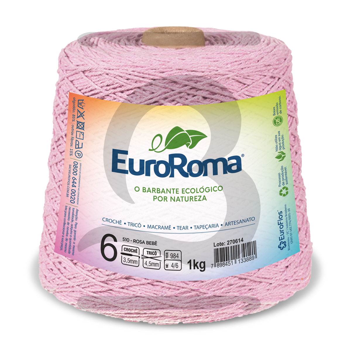 Barbante EuroRoma Colorido N°6 - 1kg Cor 510 Rosa Bebê