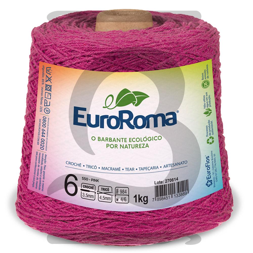 Barbante EuroRoma Colorido N°6 - 1kg Cor 550 Pink