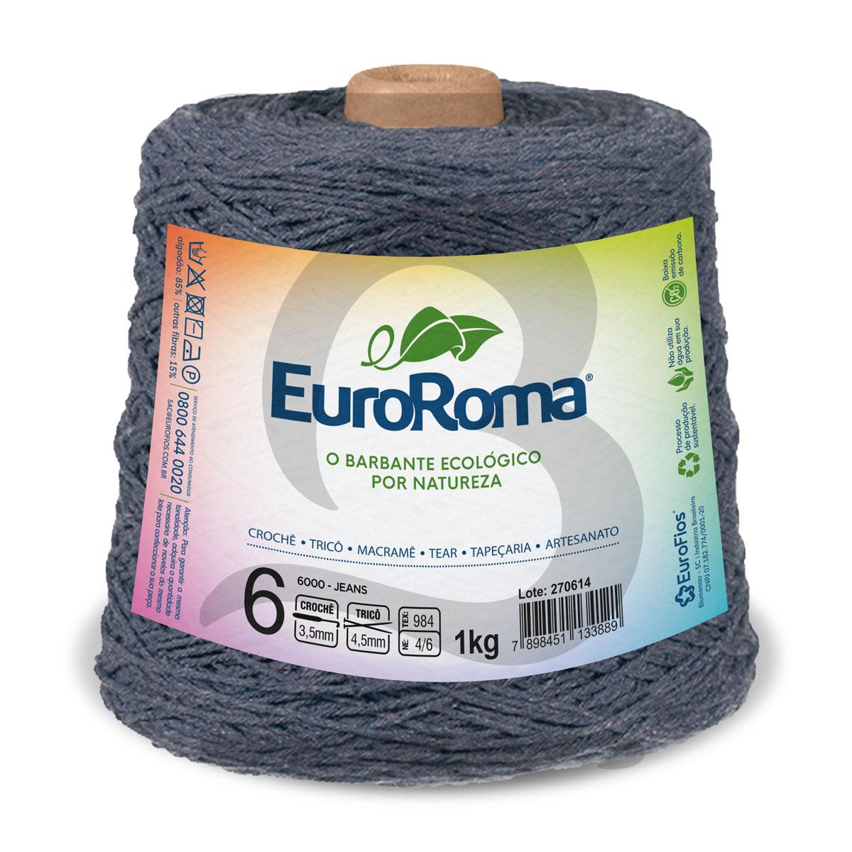 Barbante EuroRoma Colorido N°6 - 1kg Cor 6000 Jeans