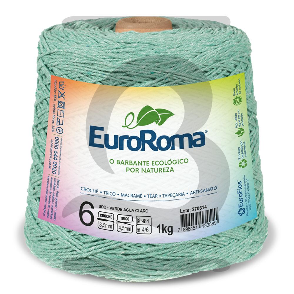 Barbante EuroRoma Colorido N°6 - 1kg Cor 800 Verde Água Claro