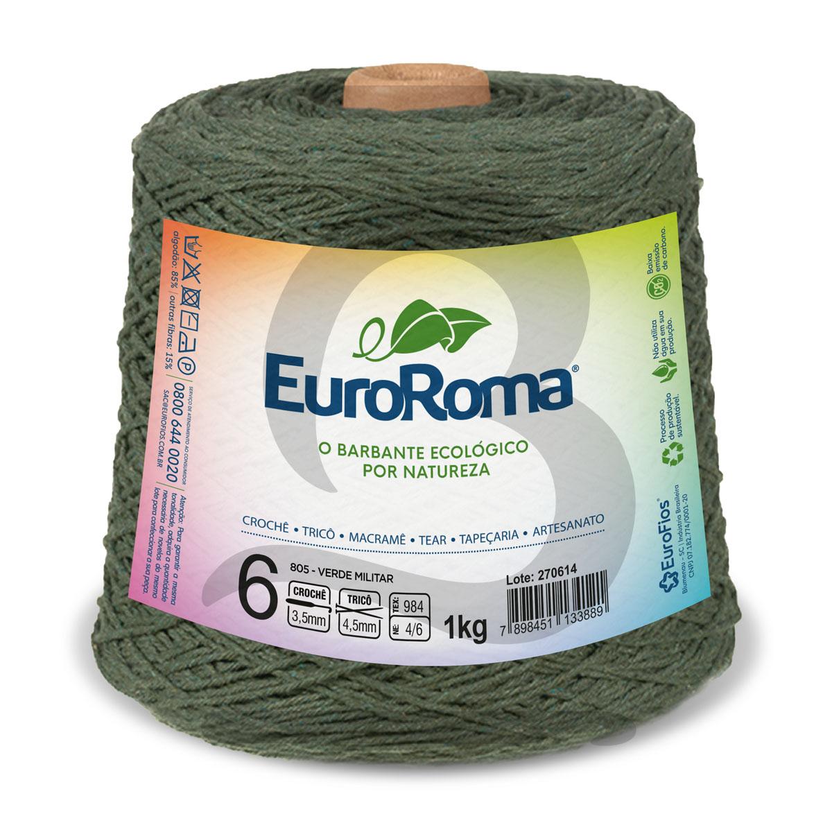 Barbante EuroRoma Colorido N°6 - 1kg Cor 805 Verde Militar