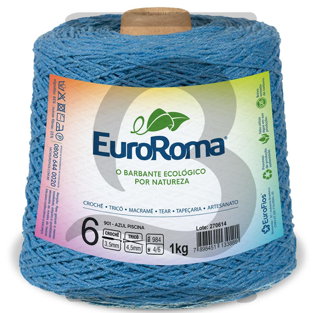Barbante EuroRoma Colorido N°6 - 1kg Cor 901 Azul Piscina