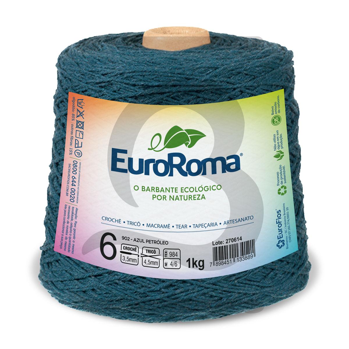 Barbante EuroRoma Colorido N°6 - 1kg Cor 902 Azul Petróleo