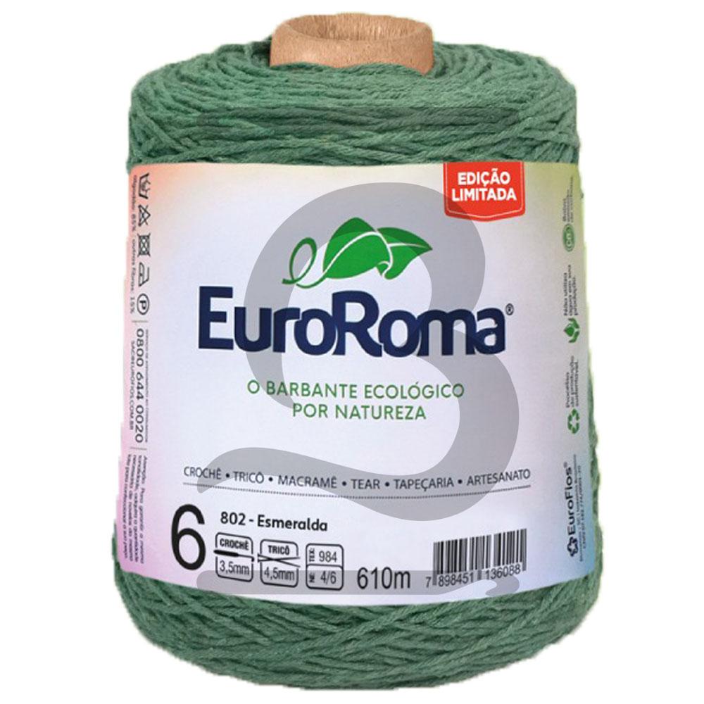 Barbante EuroRoma Colorido N°6 - 600g Cor 802 Esmeralda