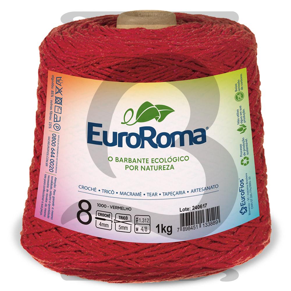 Barbante EuroRoma Colorido N°8 - 1kg Cor 1000 Vermelho