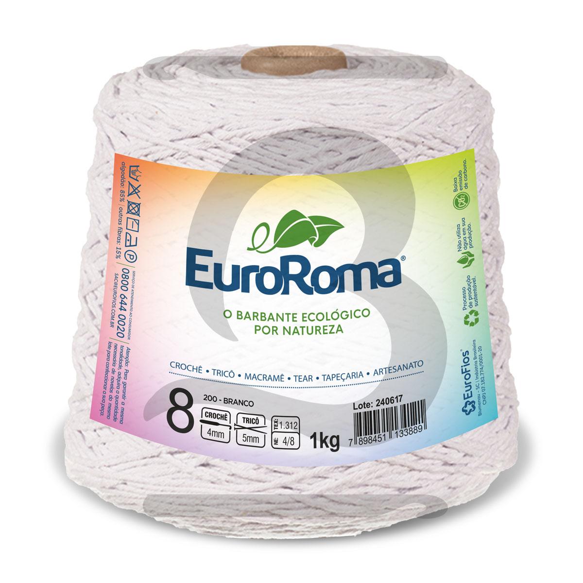 Barbante EuroRoma Colorido N°8 - 1kg Cor 200 Branco