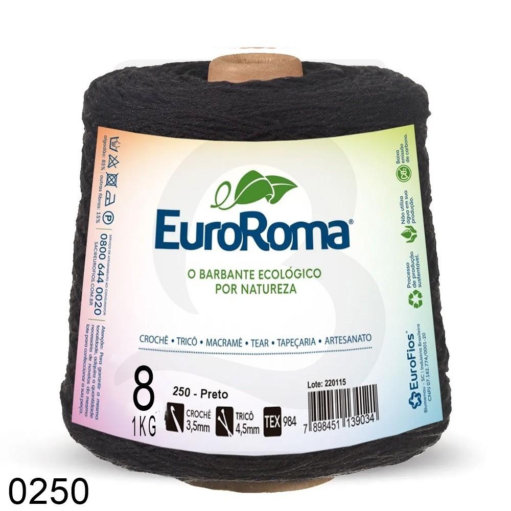 Barbante EuroRoma Colorido N°8 - 1kg Cor 250 Preto