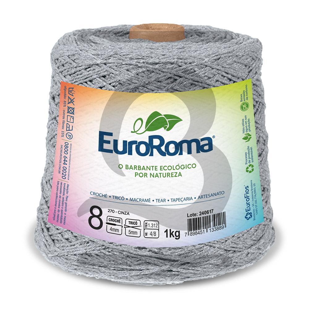 Barbante EuroRoma Colorido N°8 - 1kg Cor 270 Cinza