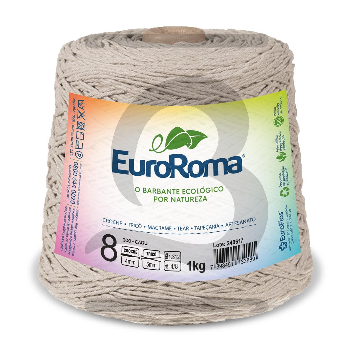 Barbante EuroRoma Colorido N°8 - 1kg Cor 300 Caqui