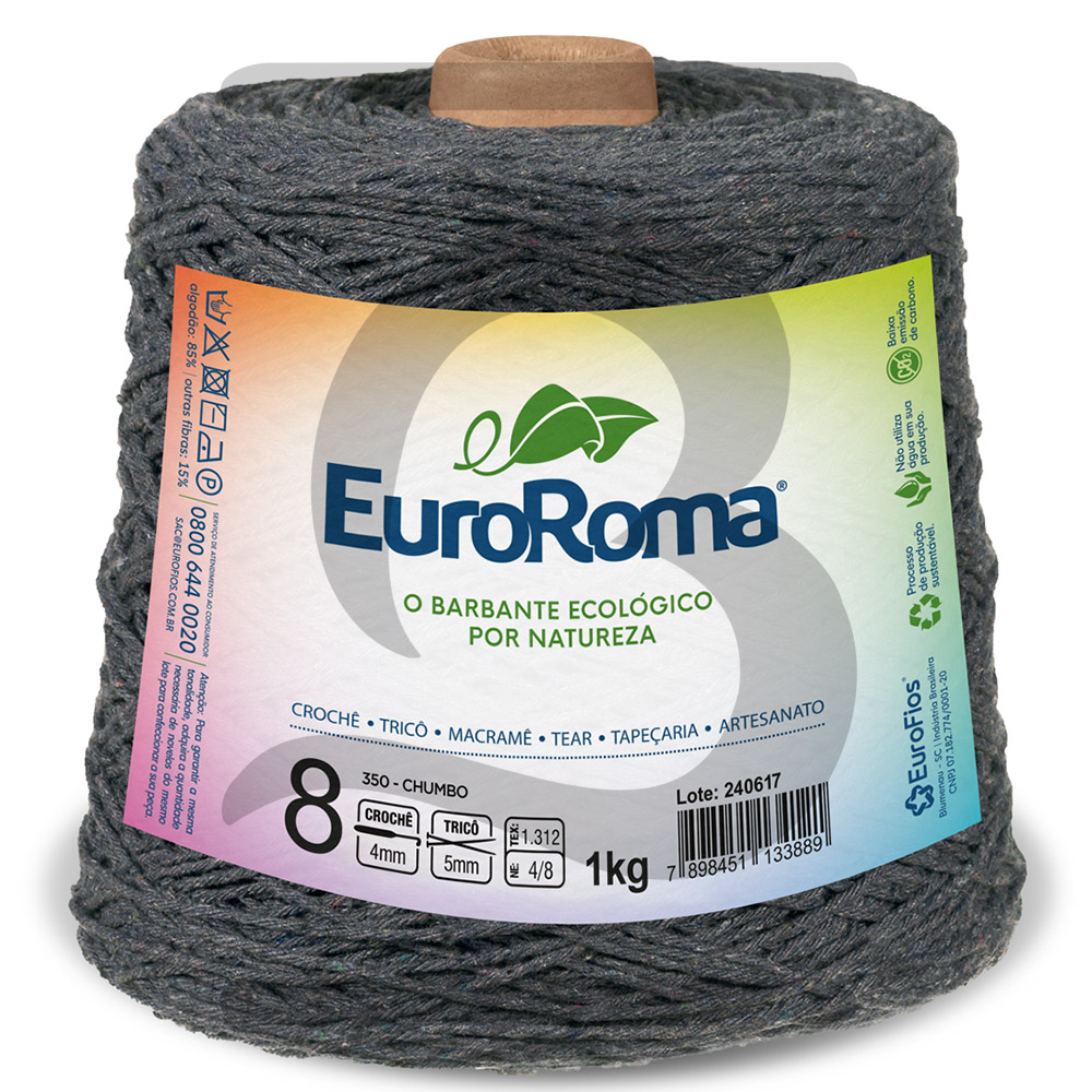 Barbante EuroRoma Colorido N°8 - 1kg Cor 350 Chumbo