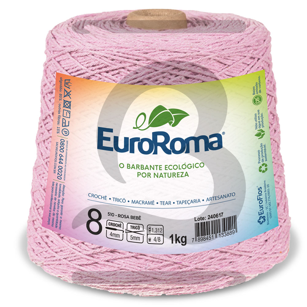 Barbante EuroRoma Colorido N°8 - 1kg Cor 510 Rosa Bebê