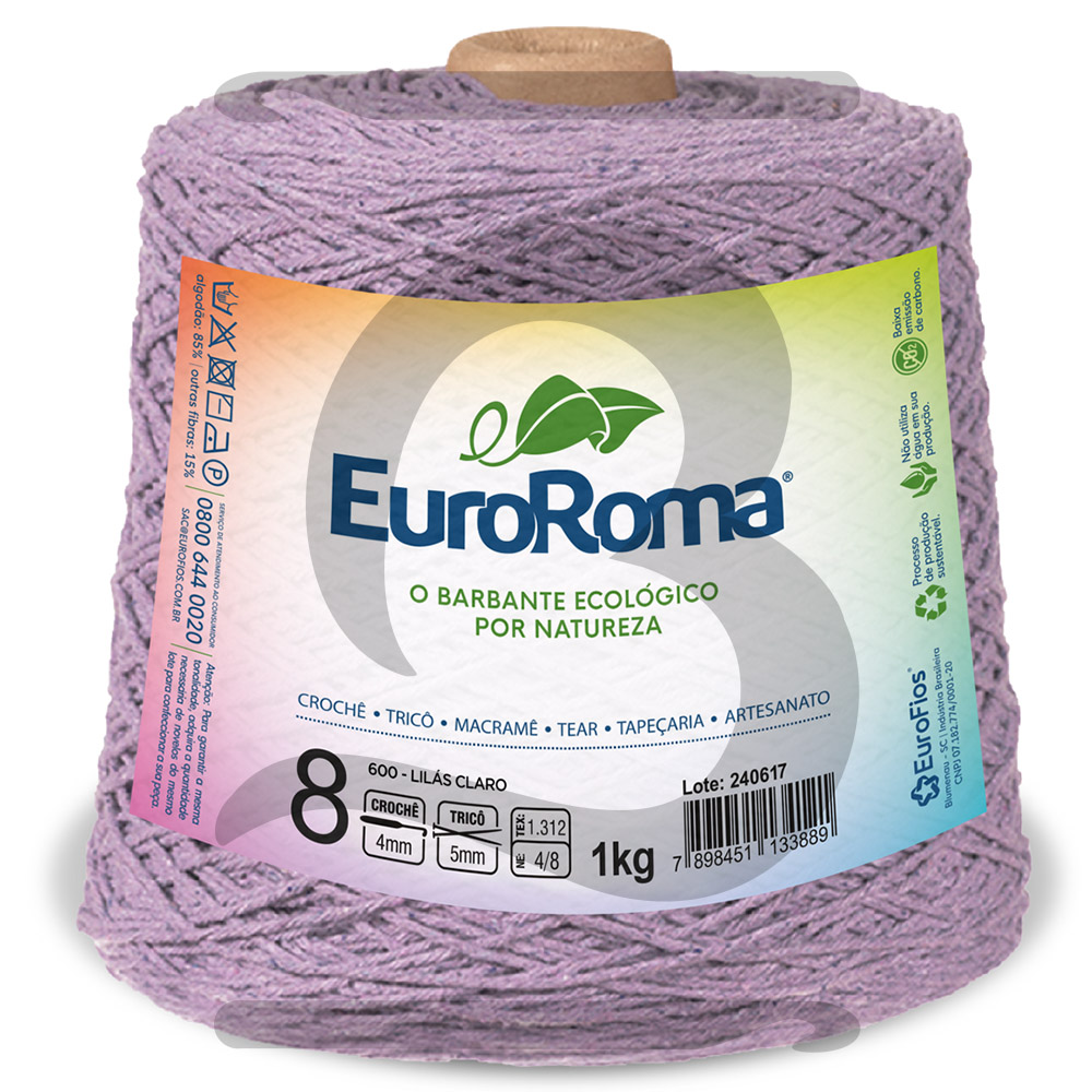 Barbante EuroRoma Colorido N°8 - 1kg Cor 600 Lilás