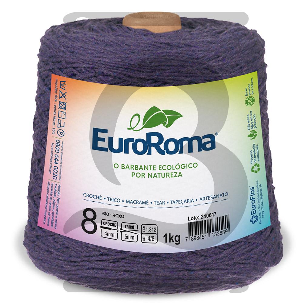 Barbante EuroRoma Colorido N°8 - 1kg Cor 610 Roxo