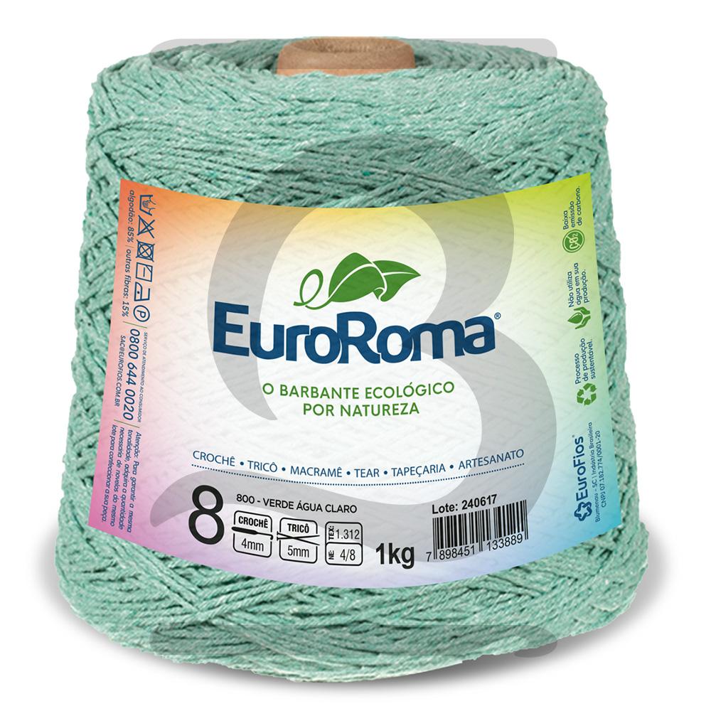 Barbante EuroRoma Colorido N°8 - 1kg Cor 800 Verde Água Claro