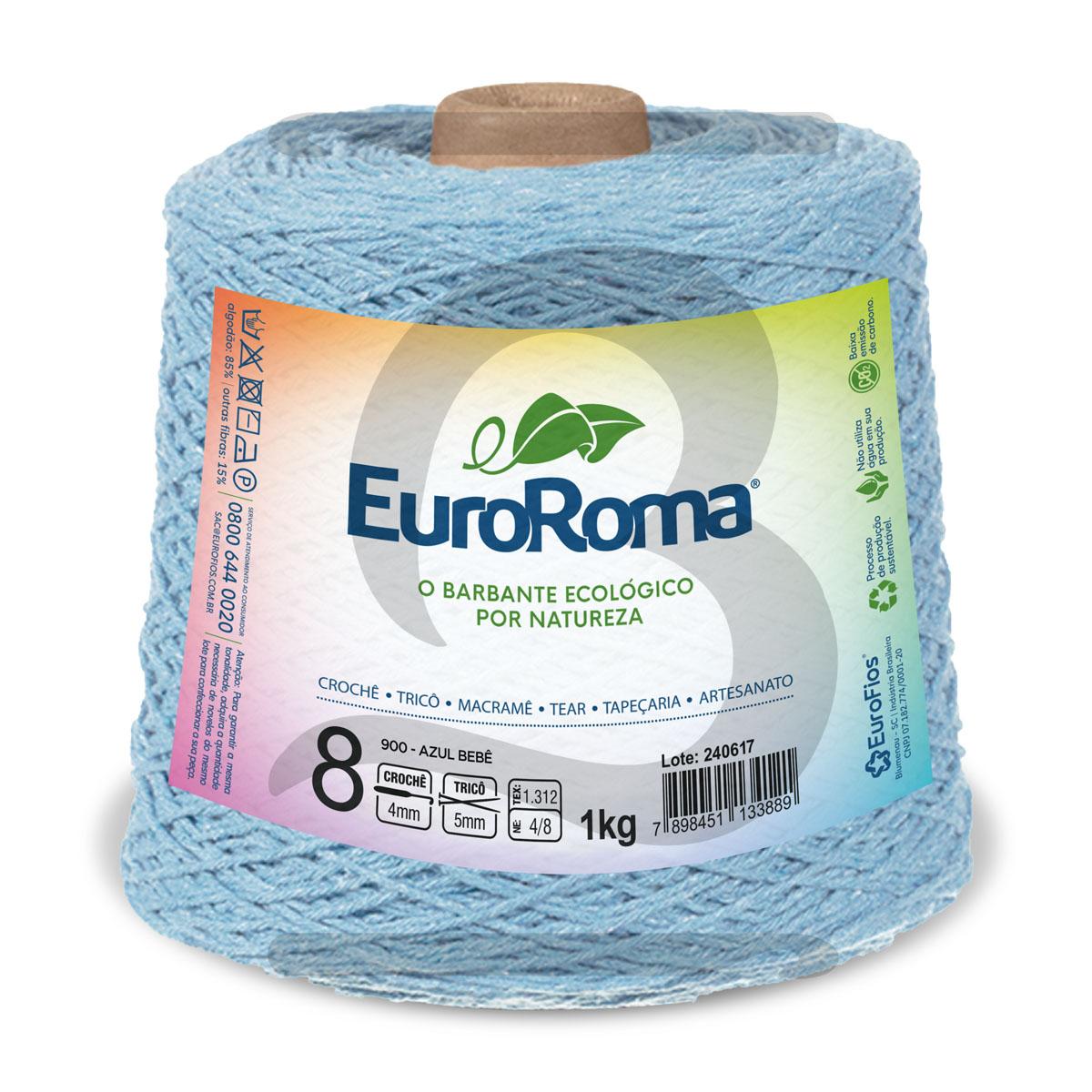 Barbante EuroRoma Colorido N°8 - 1kg Cor 900 Azul Bebê
