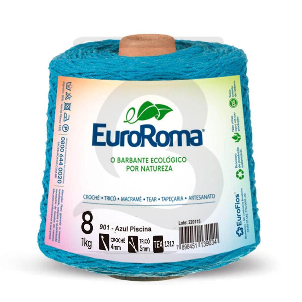 Barbante EuroRoma Colorido N°8 - 1kg Cor 901 Azul Piscina