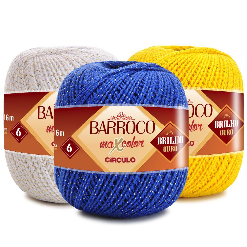 Barbante Barroco MaxColor Brilho Ouro Nº 6 - 200g  - Bastex Artesanatos