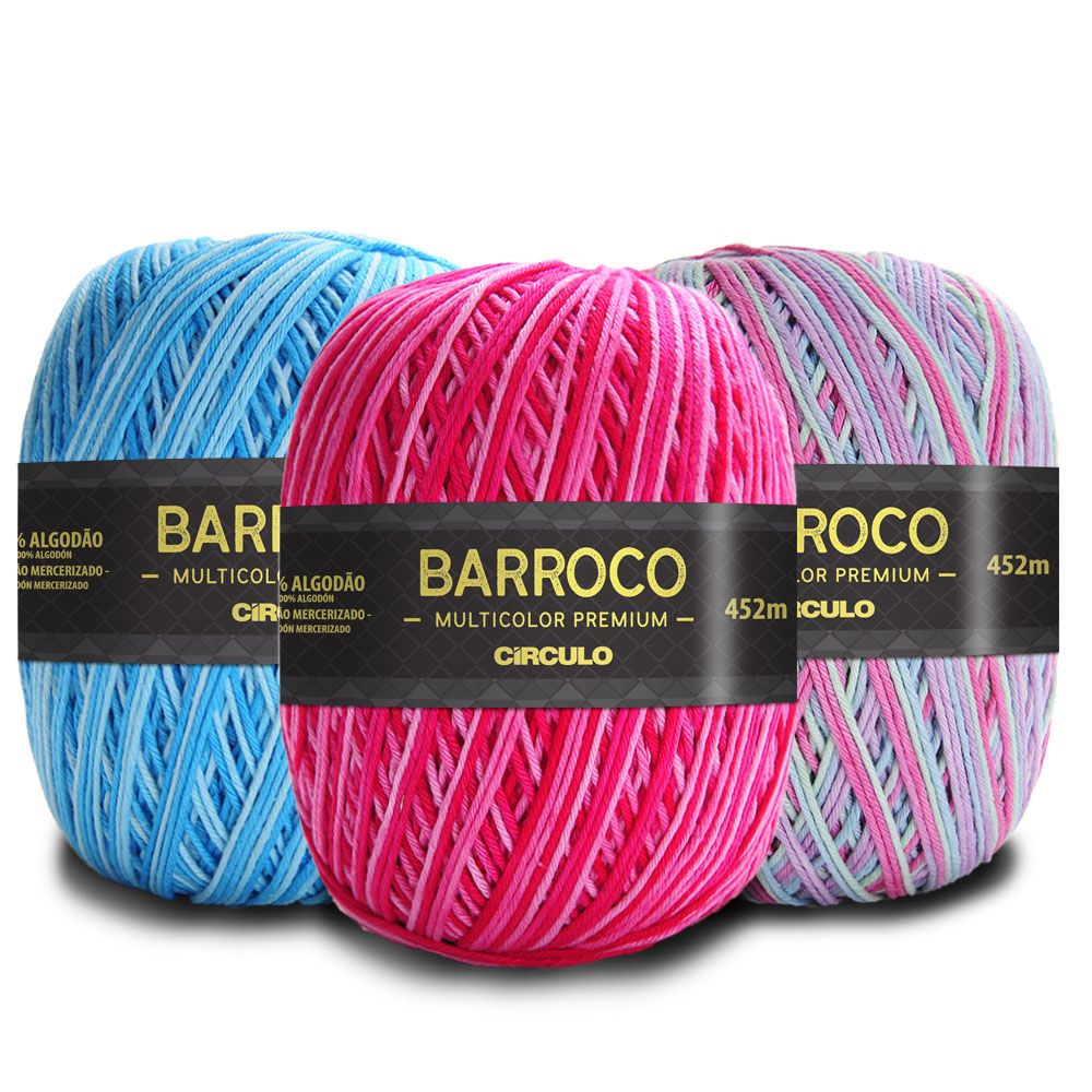 Barbante Barroco Multicolor Premium 400g  - Bastex Artesanatos