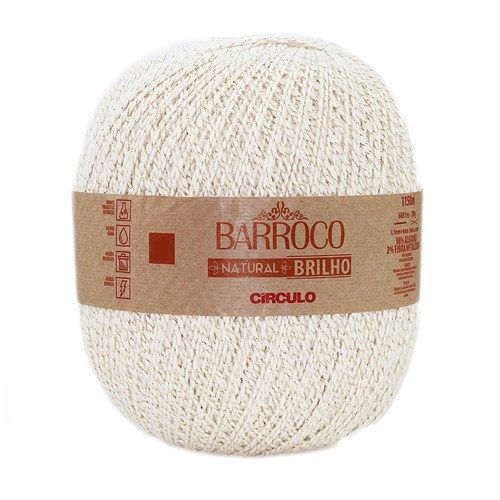 Barbante Barroco Natural Brilho Ouro 700g