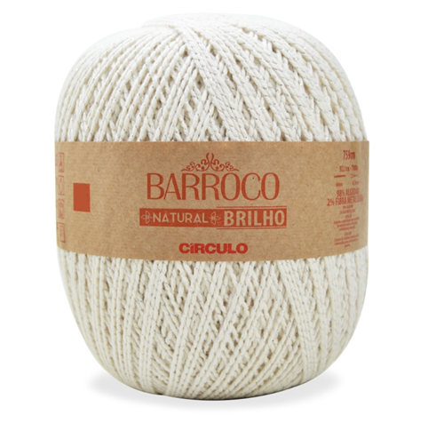 Barbante Barroco Natural Brilho Prata 700g  - Bastex Artesanatos
