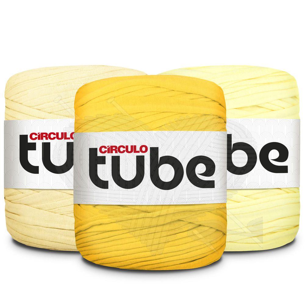 Fio de Malha Tube Círculo Tons de Amarelo - 120m  - Bastex Artesanatos