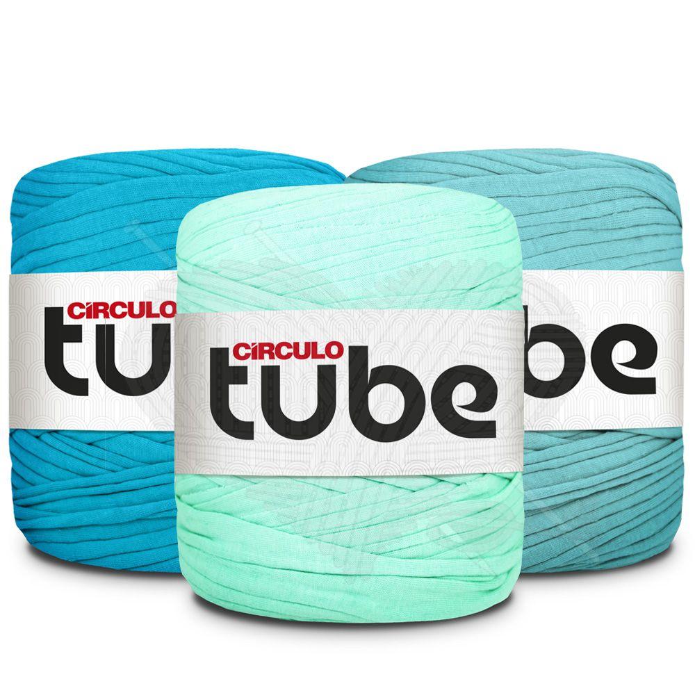 Fio de Malha Tube Círculo Tons de Azul Claro - 120m