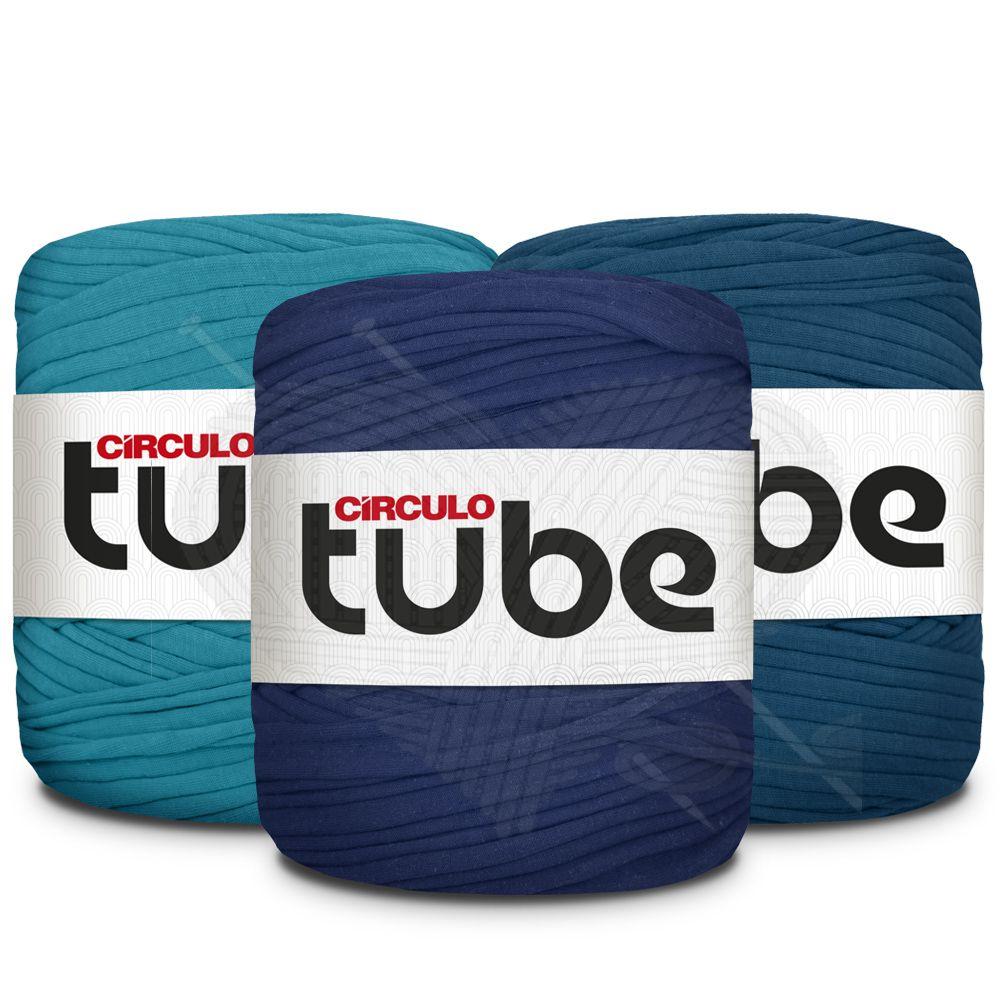 Fio de Malha Tube Círculo Tons de Azul Forte - 120m  - Bastex Artesanatos
