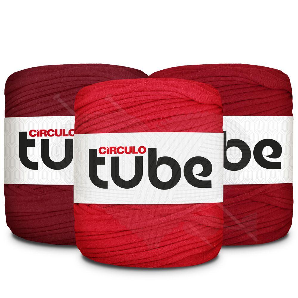 Fio de Malha Tube Círculo Tons de Vermelho - 120m