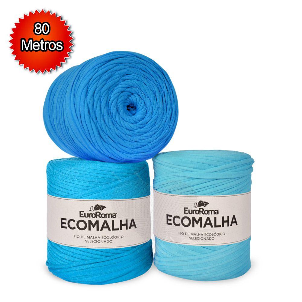 Fio EcoMalha Tons de Azul Claro - 80m   - Bastex Artesanatos