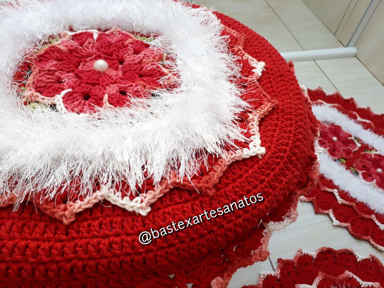 Jogo de Banheiro Crochê Peludo 3 Peças  - Bastex Artesanatos