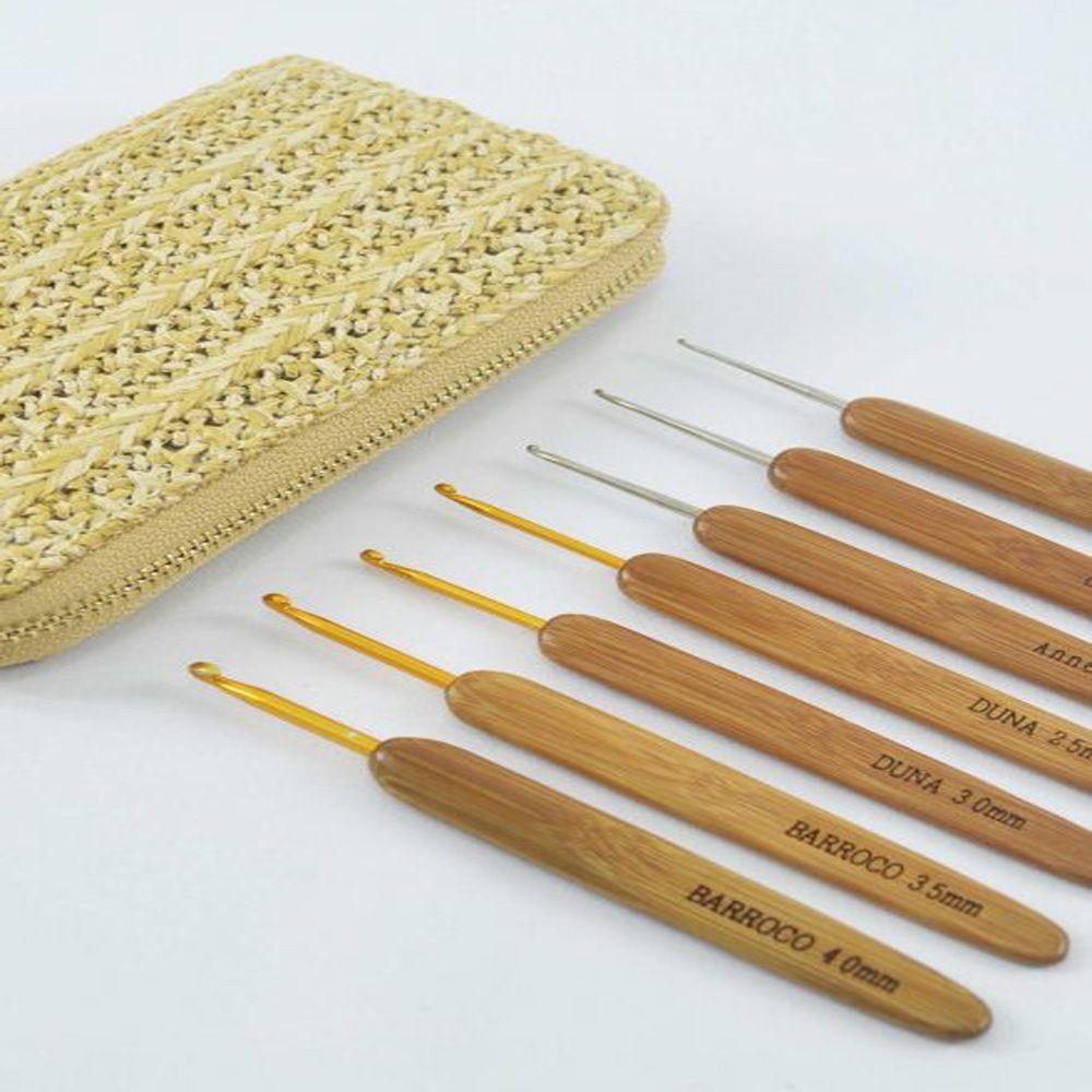 Kit Agulha de Crochê Bambu - Círculo  - Bastex Artesanatos