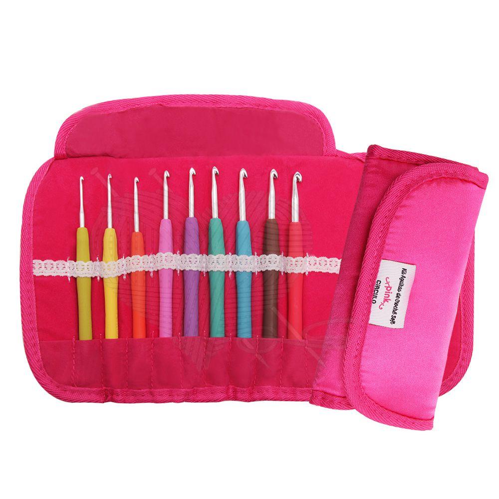 Kit Agulhas de Crochê Soft Emborrachada Círculo - Pink
