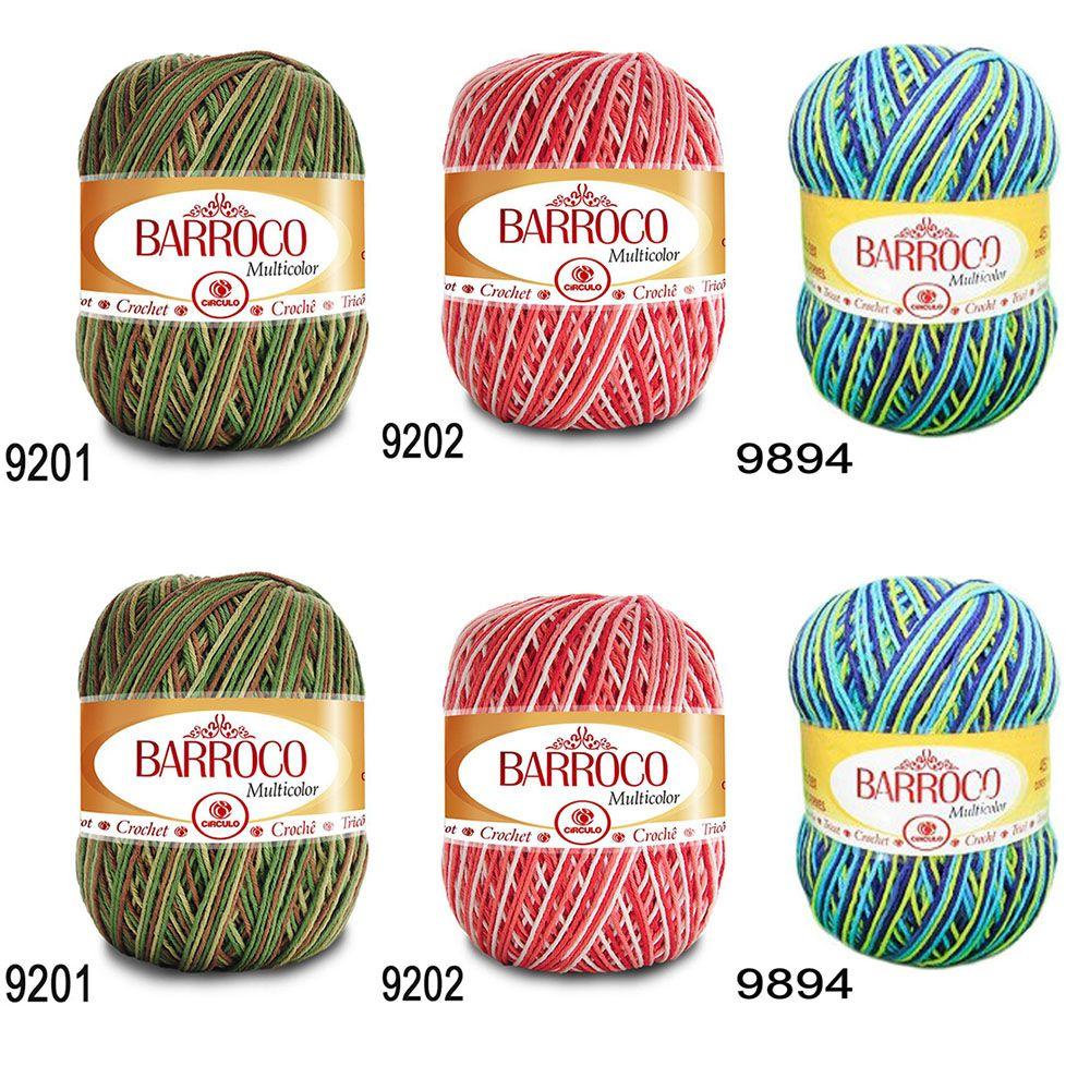 Kit Barbante Barroco Multicolor 200g - 6 Novelos  - Bastex Artesanatos