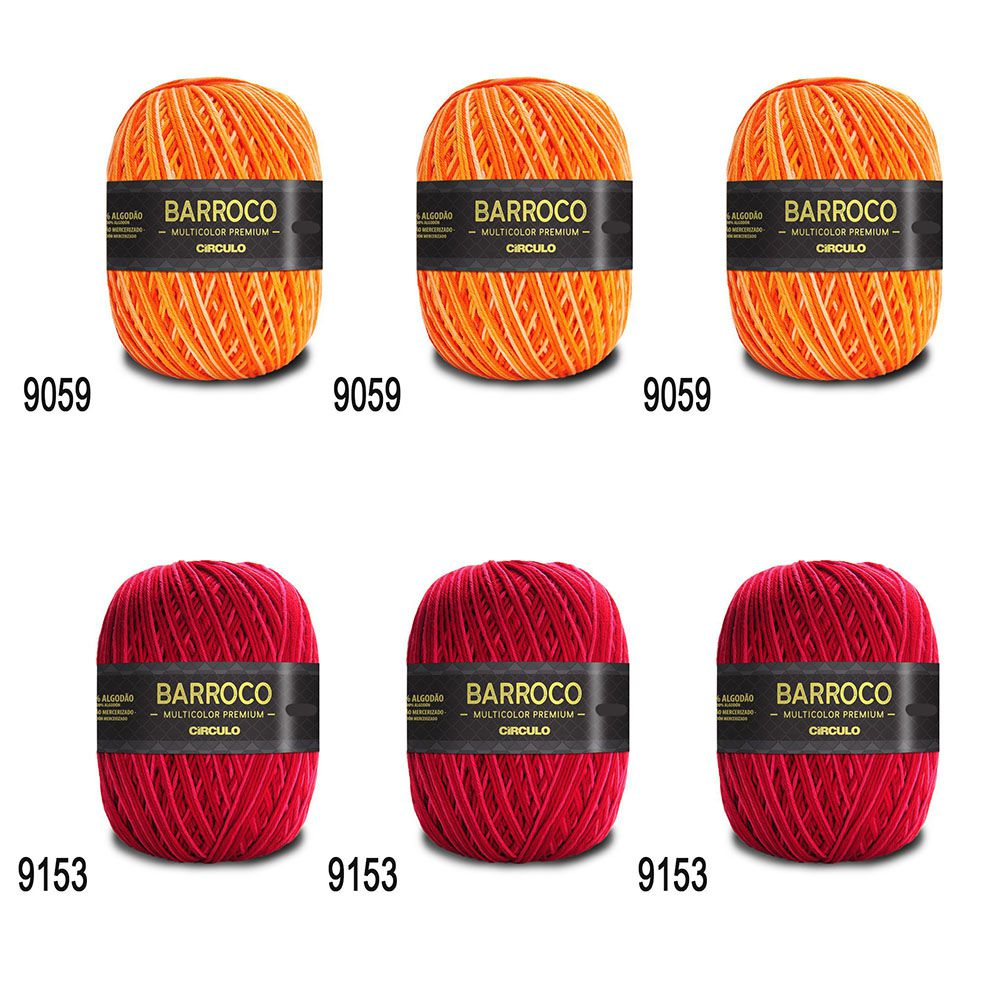 Kit Barbante Barroco Multicolor Premium 200g - 6 Novelos