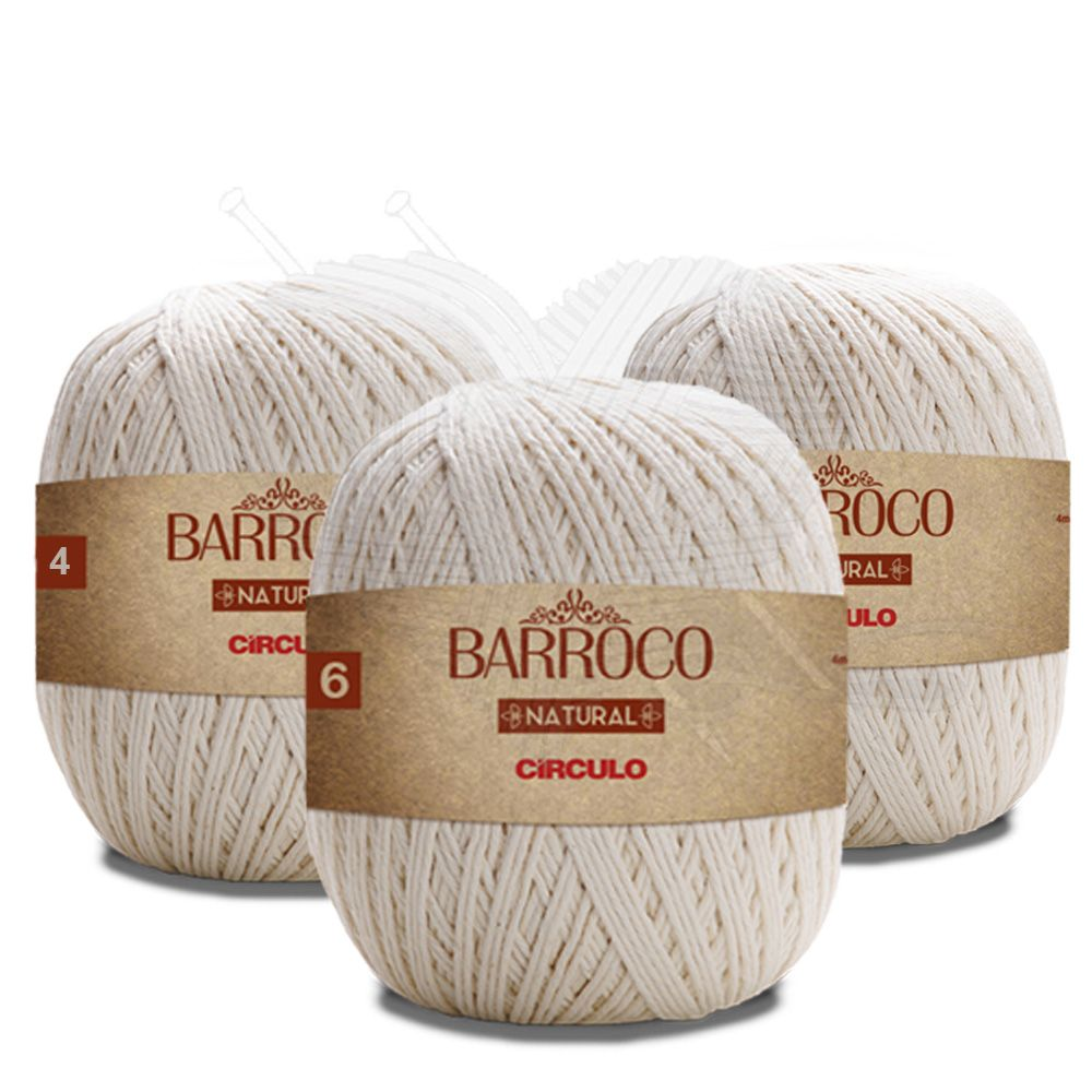 Kit Barbante Barroco Natural 700g - Círculo - (kit com 3 Novelos )  - Bastex Artesanatos
