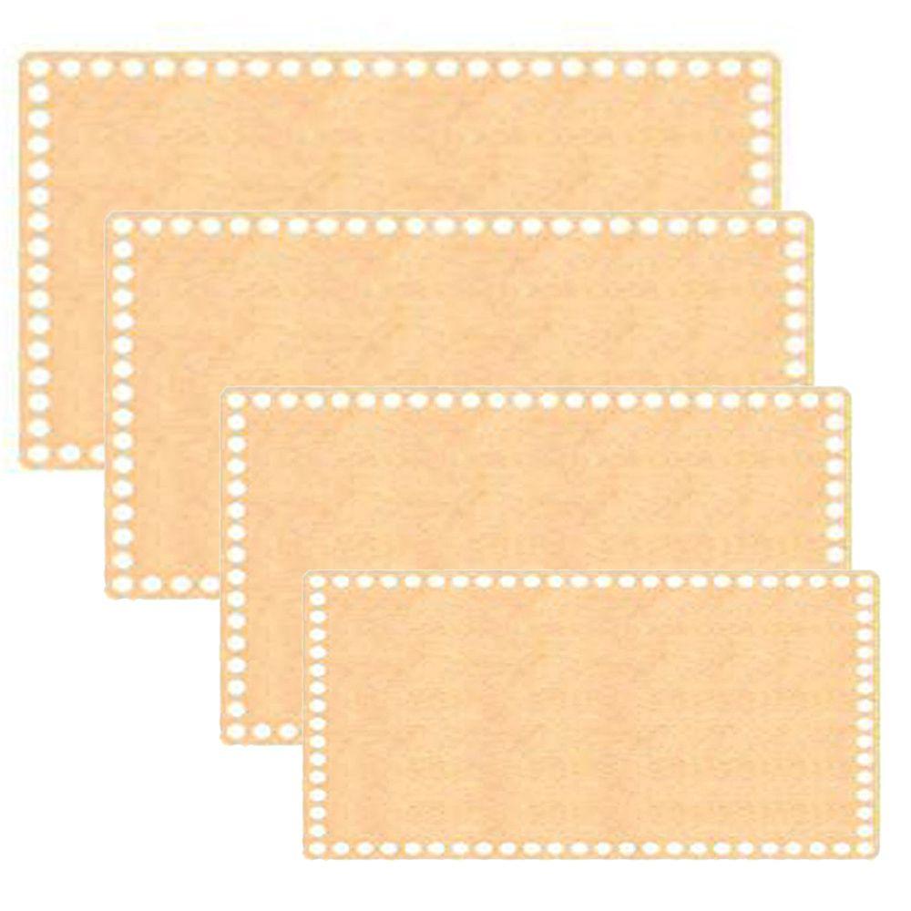 Kit Base de MDF para Crochê Retangular 4 Peças  - Bastex Artesanatos