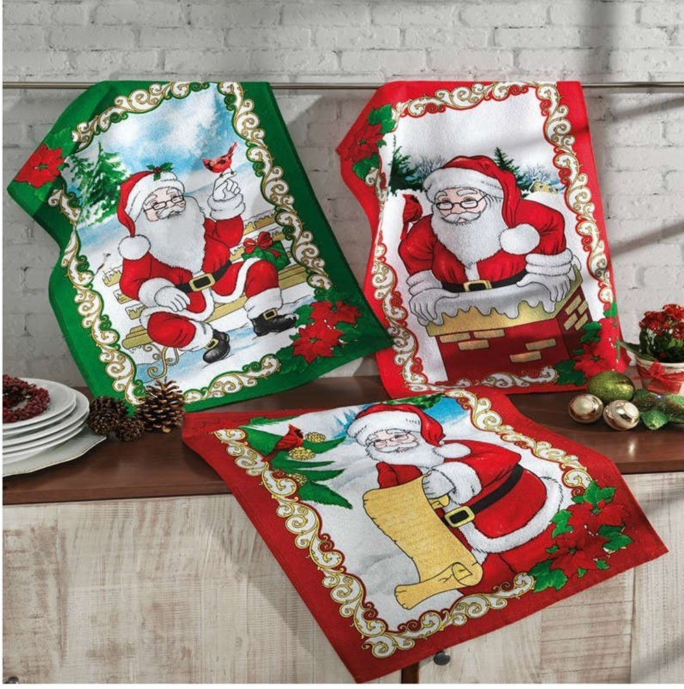Kit Com 3 Panos de Prato Felpudo Dohler Papai Noel 2