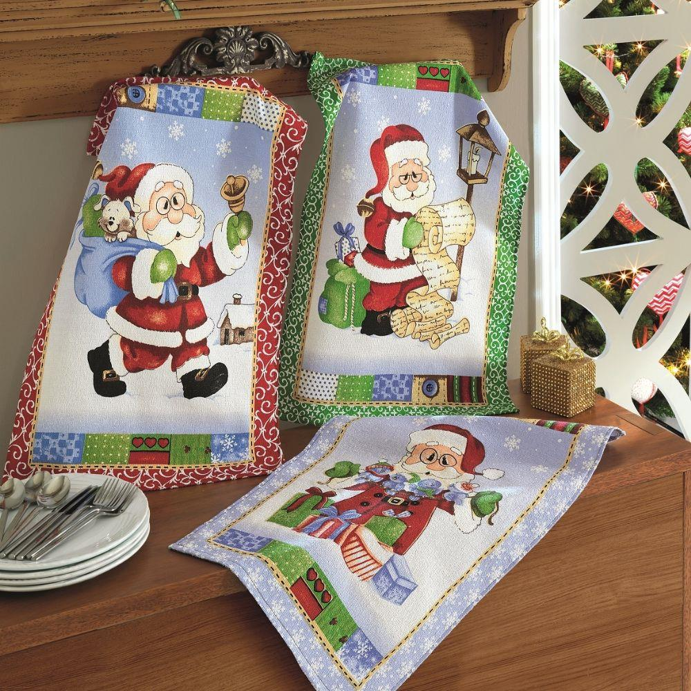 Kit Com 3 Panos de Prato Felpudo Dohler Papai Noel