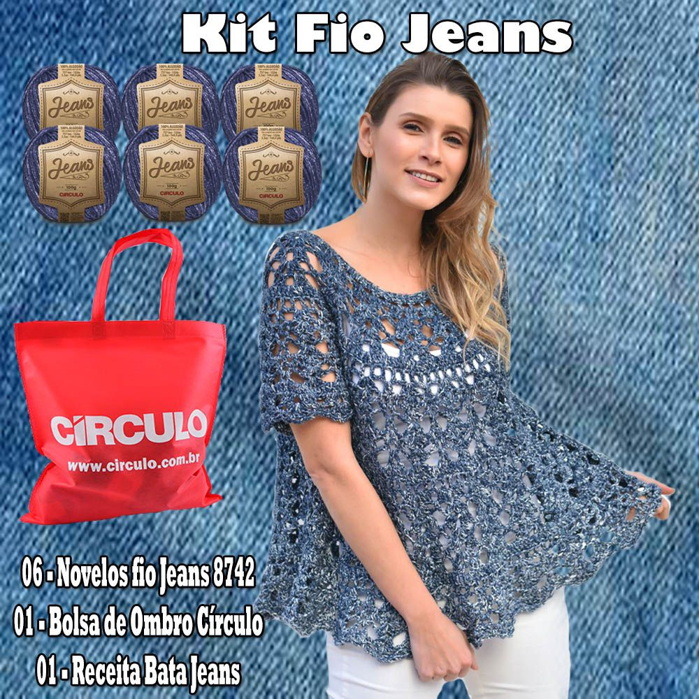 Kit Fio Jeans Círculo 6 Novelos Cor 8742  - Bastex Artesanatos