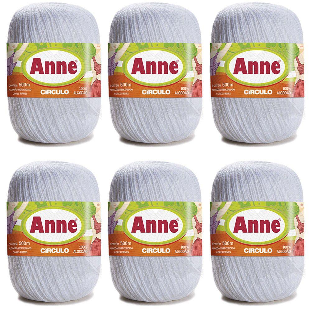 Kit Linha Anne 500 Círculo Branca 147g - 6 Novelos